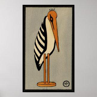 Cigüeña - anticuaria, ejemplo de libro colorido posters