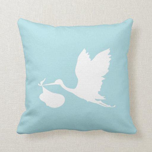 Cigüeña azul y blanca del vuelo almohada