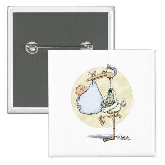 Cigüeña - bebé pin cuadrada 5 cm