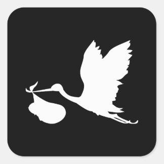 Cigüeña blanca con el paquete de alegría colcomanias cuadradas personalizadas