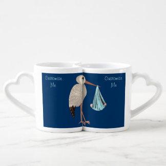 Cigüeña clásica 1 (azul) set de tazas de café