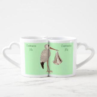Cigüeña clásica 1 (neutral) set de tazas de café