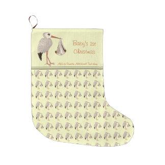 Cigüeña clásica 2 (neutrales) calcetín de navidad grande