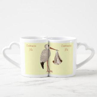 Cigüeña clásica 2 (neutrales) set de tazas de café