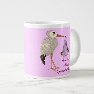 Cigüeña clásica (rosa) 2 taza de café grande