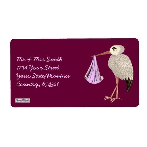 Cigüeña clásica (rosa) (fiesta de bienvenida al etiqueta de envío