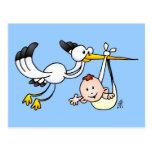 Cigüeña con el bebé postal