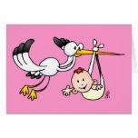Cigüeña con el bebé tarjeta de felicitación