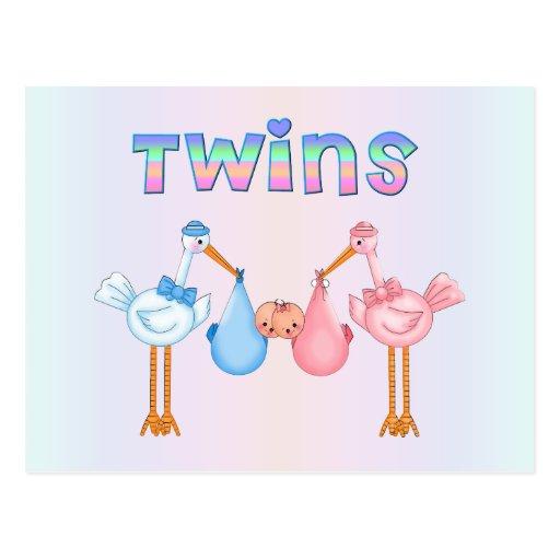 Cigüeña con los gemelos postal
