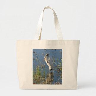 Cigüeña de madera bolsa lienzo