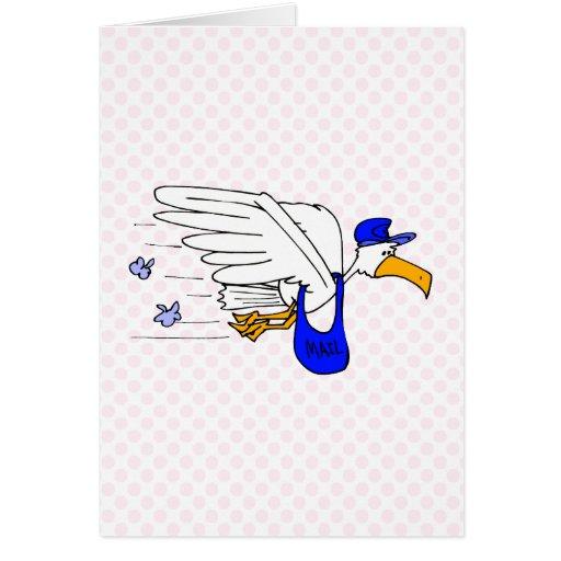 Cigüeña del pizarrero tarjeta de felicitación