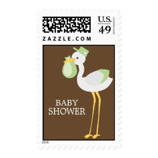 Cigüeña del verde de la entrega especial sello postal