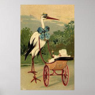 Cigüeña del Victorian del vintage y carro de bebé Póster