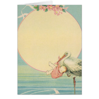Cigüeña del vintage con la niña en manta rosada tarjeta