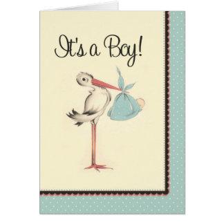 Cigüeña del vintage es una invitación del tarjeta de felicitación