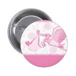 Cigüeña rosada con el botón del bebé pins