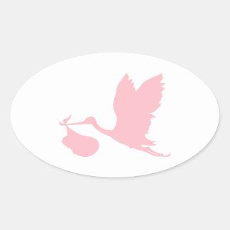 Cigüeña rosada pegatina ovalada