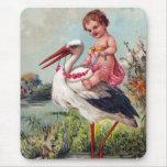Cigüeña y bebé a partir de 1909 tapetes de raton
