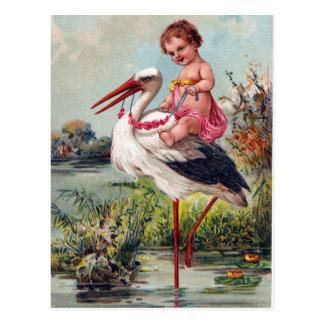 Cigüeña y bebé a partir de 1909 tarjeta postal