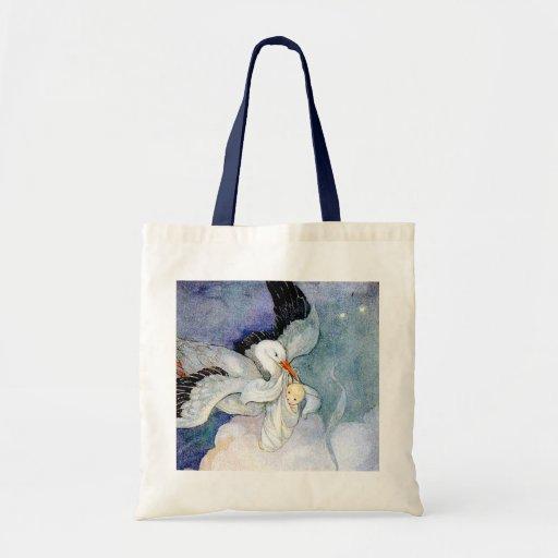 Cigüeña y bebé bolsa tela barata