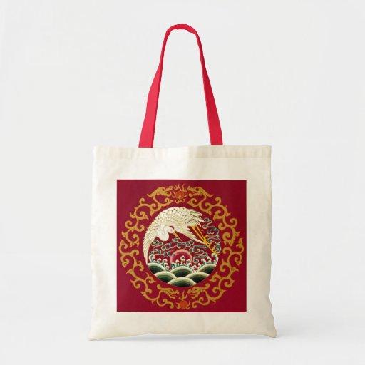 Cigüeña y dragón chinos bolsa tela barata