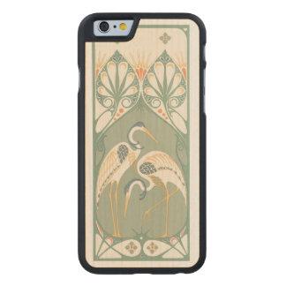 Cigüeñas de Nouveau del arte Funda De iPhone 6 Carved® De Arce