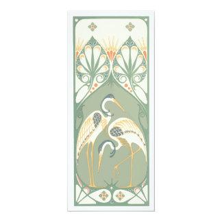 Cigüeñas de Nouveau del arte Invitación 10,1 X 23,5 Cm