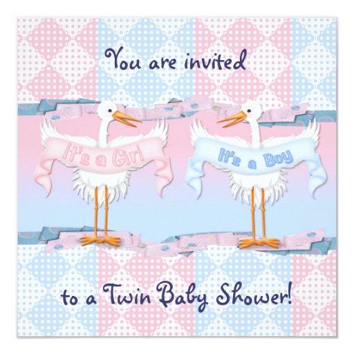 Cigüeñas gemelas para la fiesta de bienvenida al comunicado personalizado