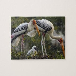 Cigüeñas y jóvenes pintados una en la jerarquía, K Rompecabeza Con Fotos