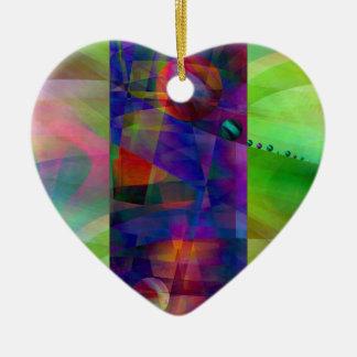 Cilindro abstracto creado por Christine Bässler Adorno Navideño De Cerámica En Forma De Corazón