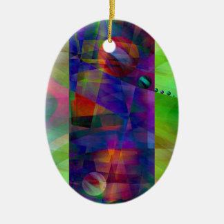 Cilindro abstracto creado por Christine Bässler Adorno Navideño Ovalado De Cerámica