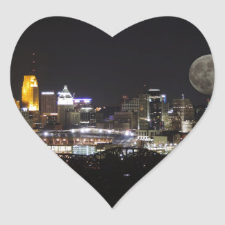 Cincinnat skyline with the moon from above heart sticker