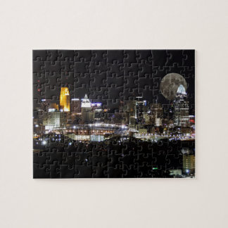 Cincinnat skyline with the moon from above jigsaw puzzle