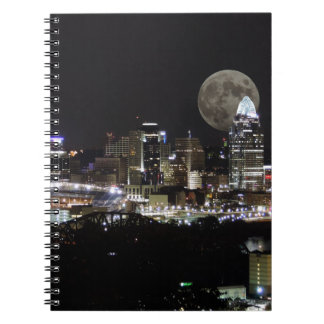 Cincinnat skyline with the moon from above spiral notebook