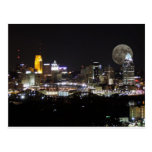 Cincinnat skyline with the moon from above post cards