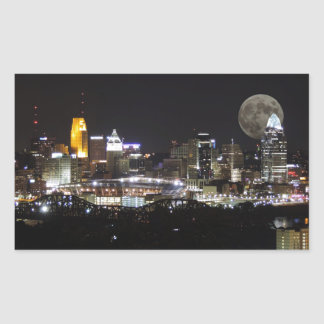 Cincinnat skyline with the moon from above rectangular sticker