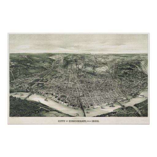 Cincinnati birdseye map - 1900 (Henderson) BigMapB Posters