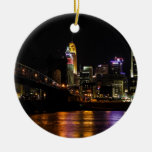 Cincinnati by Night Double-Sided Ceramic Round Christmas Ornament