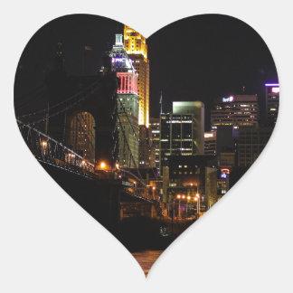 Cincinnati by Night Heart Sticker