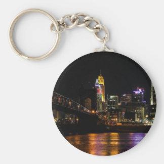 Cincinnati Cityscape Basic Round Button Keychain