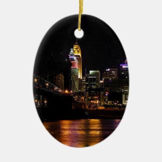 Cincinnati Cityscape Ceramic Ornament
