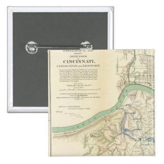 Cincinnati, Covington, Newport Pin Cuadrada 5 Cm