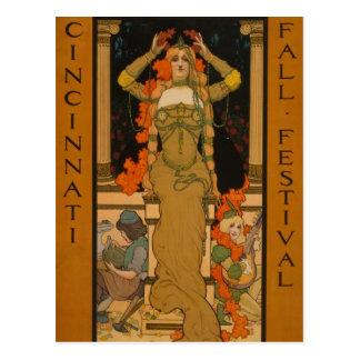 Cincinnati fall festival Art Nouveau Postcard