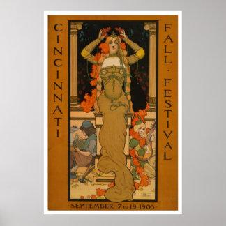 Cincinnati fall festival Art Nouveau Print