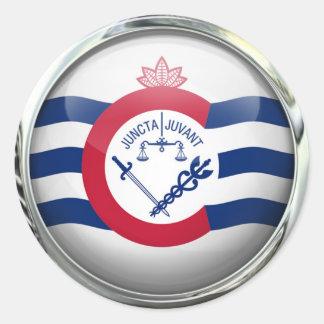 Cincinnati Flag Glass Ball Classic Round Sticker