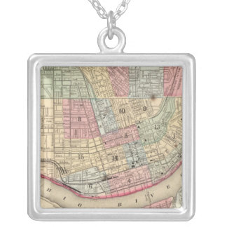 Cincinnati Map by Mitchell Square Pendant Necklace
