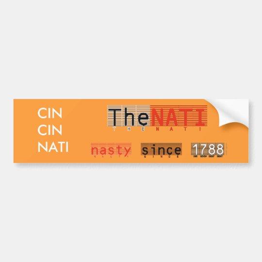 CINCINNATI Nasty NATI Bumper Sticker (Orange)
