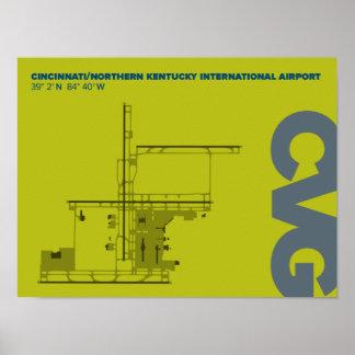 Cincinnati/Northern Kentucky Airport (CVG) Diagram Poster