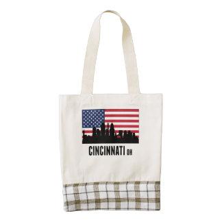 Cincinnati OH American Flag Zazzle HEART Tote Bag