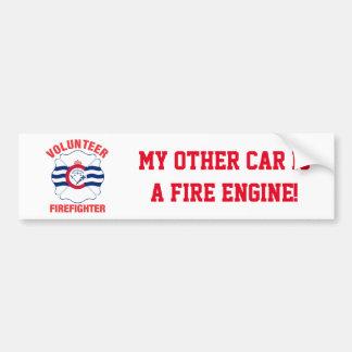 Cincinnati, OH Flag Volunteer Firefighter Cross Bumper Sticker